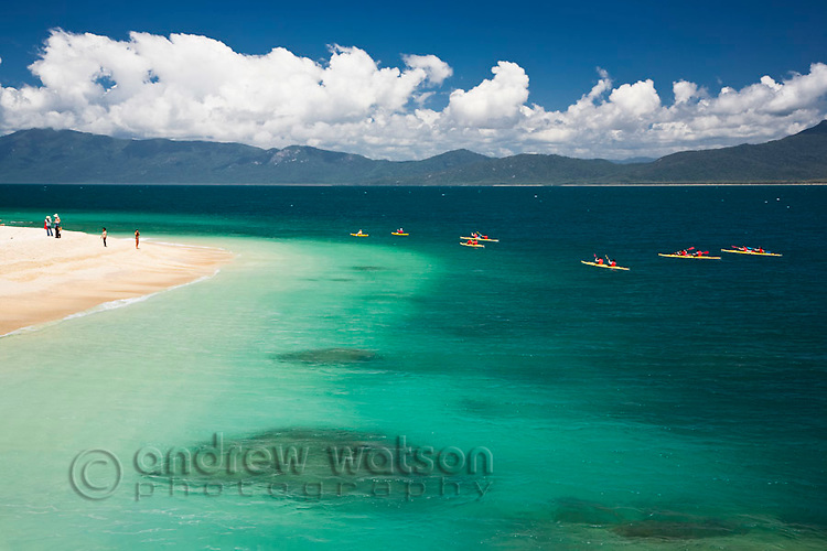 Kayakers at Nudey Beach on Fitzroy Island.  Fitzroy Island National Park, Cairns, Queensland, Austtralia