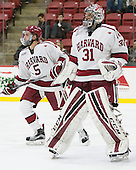 Clay Anderson (Harvard - 5), Merrick Madsen (Harvard - 31) - The Harvard University Crimson defeated the visiting Rensselaer Polytechnic Institute Engineers 5-2 in game 1 of their ECAC quarterfinal series on Friday, March 11, 2016, at Bright-Landry Hockey Center in Boston, Massachusetts.