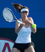 TSVETANA PIRONKOVA (BUL) against SANIA MIRZA (IND) in the first round of the Women's Singles. Tsvetana Pironkova beat Sania Mirza 6-4 6-2..16/01/2012, 16th January 2012, 16.01.2012..The Australian Open, Melbourne Park, Melbourne,Victoria, Australia.@AMN IMAGES, Frey, Advantage Media Network, 30, Cleveland Street, London, W1T 4JD .Tel - +44 208 947 0100..email - mfrey@advantagemedianet.com..www.amnimages.photoshelter.com.