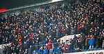 01.12.2019 Rangers v Hearts: Rangers fans in the Govan Rear wrapped up against the cold