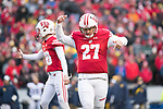 Wisconsin Badgers kicker Rafael Gaglianone (27) celebrates a field goal during an NCAA College Big Ten Conference football game against the Michigan Wolverines Saturday, November 18, 2017, in Madison, Wis. The Badgers won 24-10. (Photo by David Stluka)