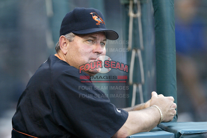 Baltimore Orioles Manager Mike Hargrove before a 2002 MLB season game against the Los Angeles Angels at Angel Stadium, in Los Angeles, California. (Larry Goren/Four Seam Images)