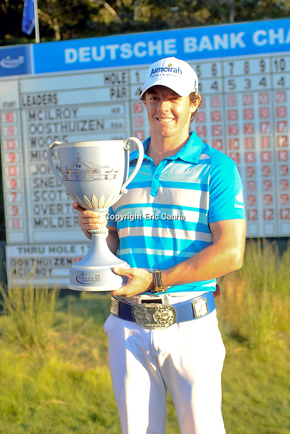 September 3, 2012  Rory McIlroy of Northern Ireland with the Champion's Trophy after winning the  Deutsche Bank Championship tournament held at The Tournament Players Club, in Norton, Massachusetts.  Eric Canha/CSM