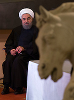 Il presidente dell'Iran Hassan Rouhani durante il suo incontro col presidente del Consiglio in Campidoglio, Roma, 25 gennaio 2016.<br /> Iran's President Hassan Rouhani during his meeting with the Italian Premier at the Campidoglio capitol hill in Rome, 25 January 2016.<br /> UPDATE IMAGES PRESS/Riccardo De Luca