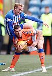 19.05.2019 Kilmarnock v Rangers: Jon Flanagan tangled up with Rory McKenzie