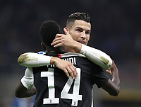 Calcio, Serie A: Inter Milano - Juventus, Giuseppe Meazza stadium, October 6 2019.<br /> Juventus' Cristiano Ronaldo (r) and Blaise Matuidi (l)  celebrate after winning 2-1  the Italian Serie A football match between Inter and Juventus at Giuseppe Meazza (San Siro) stadium, October 6, 2019.<br /> UPDATE IMAGES PRESS/Isabella Bonotto