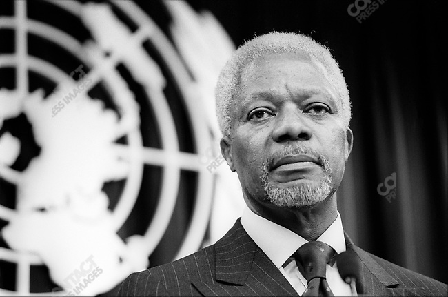 Kofi ANNAN.U.N. Secretary General.announcing he will run for re-election.United Nations, New York City.March 2001