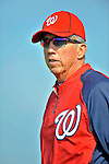 24 February 2012: Washington Nationals' Manager Davey Johnson watches his team warm up at the Carl Barger Baseball Complex in Viera, Florida. Mandatory Credit: Ed Wolfstein Photo
