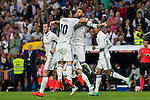 Real Madrid's Sergio Ramos and James Rodriguez during the match of La Liga between Real Madrid  and Villarreal Club de Futbol at Santiago Bernabeu Estadium in Madrid. September 21, 2016. (ALTERPHOTOS/Rodrigo Jimenez)