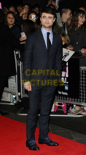 Daniel Radcliffe<br /> attended the &quot;Kill Your Darlings&quot; official competition gala screening, 57th BFI London Film Festival day 9, Odeon West End cinema, Leicester Square, London, England, UK, 17th October 2013.<br /> full length blue grey gray suit checked plaid tartan checked <br /> CAP/CAN<br /> &copy;Can Nguyen/Capital Pictures