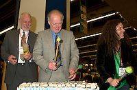 March 19 2003, Montreal, Quebec, Canada<br /> <br /> <br /> David Anderson,Canada's  Environment Minister (L) and Andre Caille, President and CEO of Hydro Quebec and Honorary President of AMERICANA 2003 (R) ,join the SCRAP BAND  to celebrate the opening  of Americana, a 3 days  trade show on environement and waste management organized by Reseau Environnement, March 19, 2003 in Montreal, Canada.<br /> <br /> Mandatory Credit: Photo by Pierre Roussel- Images Distribution. (&copy;) Copyright 2003 by Pierre Roussel <br /> <br /> NOTE : <br />  Nikon D-1 jpeg opened with Qimage icc profile, saved in Adobe 1998 RGB<br /> .Uncompressed  Original  size  file availble on request.