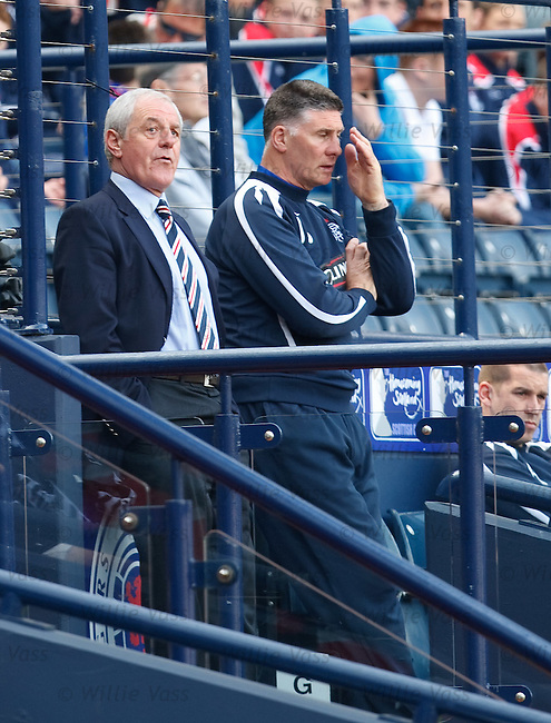Walter Smith and Jim Stewart react after Pedro Mendes in stretchered off