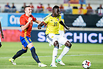 Davison Sanchez of Colombia holds off pressure from  Iago Aspas of Spain during the friendly match between Spain and Colombia at Nueva Condomina Stadium in Murcia, jun 07, 2017. Spain. (ALTERPHOTOS/Rodrigo Jimenez)