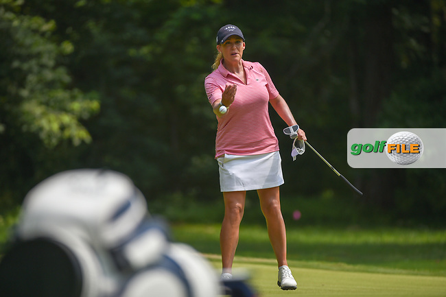 Cristie Kerr (USA) tosses her ball to her caddie on 1 during round 4 of the U.S. Women's Open Championship, Shoal Creek Country Club, at Birmingham, Alabama, USA. 6/3/2018.<br /> Picture: Golffile | Ken Murray<br /> <br /> All photo usage must carry mandatory copyright credit (© Golffile | Ken Murray)