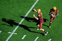 Nov. 28, 2009; Tempe, AZ, USA; Arizona State Sun Devils quarterback (10) Samson Szakacsy throws a pass in the first quarter against the Arizona Wildcats at Sun Devil Stadium. Mandatory Credit: Mark J. Rebilas-