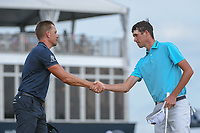 Henrik Stenson (SWE) shakes hands with Chesson Hadley (USA) on 18 following round 4 of the Houston Open, Golf Club of Houston, Houston, Texas. 4/1/2018.<br /> Picture: Golffile | Ken Murray<br /> <br /> <br /> All photo usage must carry mandatory copyright credit (&copy; Golffile | Ken Murray)