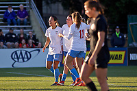 Portland, OR - Sunday March 11, 2018: Yuki Nagasato celebrates Arin Gilliland's goal during a National Women's Soccer League (NWSL) pre season match between the Portland Thorns FC and the Chicago Red Stars at Merlo Field.