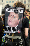 May Day march and rally at Trafalgar Square, May 1st, 2010 Poster attacking Nick Griffin leader of right wing British National Party