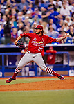26 March 2018: St. Louis Cardinals pitcher Brett Cecil on the mound during an exhibition game against the Toronto Blue Jays at Olympic Stadium in Montreal, Quebec, Canada. The Cardinals defeated the Blue Jays 5-3 in the first of two MLB pre-season games in the former home of the Montreal Expos. Mandatory Credit: Ed Wolfstein Photo *** RAW (NEF) Image File Available ***