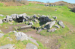 Fulacht fiadh water trough and fireplace building at Drombeg stone circle, County Cork, Ireland, Irish Republic