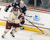 Eric Johnson (ND - 23), Austin Cangelosi (BC - 26) - The visiting University of Notre Dame Fighting Irish defeated the Boston College Eagles 2-1 in overtime on Saturday, March 1, 2014, at Kelley Rink in Conte Forum in Chestnut Hill, Massachusetts.