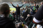 "04/14/11--The Timbers Army chant ""Ain't no pity  for the Rose City"" before the home-opener between the Portland-Chicago soccer match.....Photo by Jaime Valdez........................................"