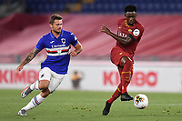 Karol Linetty of UC Sampdoria and Amadou Diawara of AS Roma in action during the Serie A football match between AS Roma and UC Sampdoria at Olimpico stadium in Rome ( Italy ), June 24th, 2020. Play resumes behind closed doors following the outbreak of the coronavirus disease. AS Roma won 2-1 over UC Sampdoria. <br /> Photo Andrea Staccioli / Insidefoto