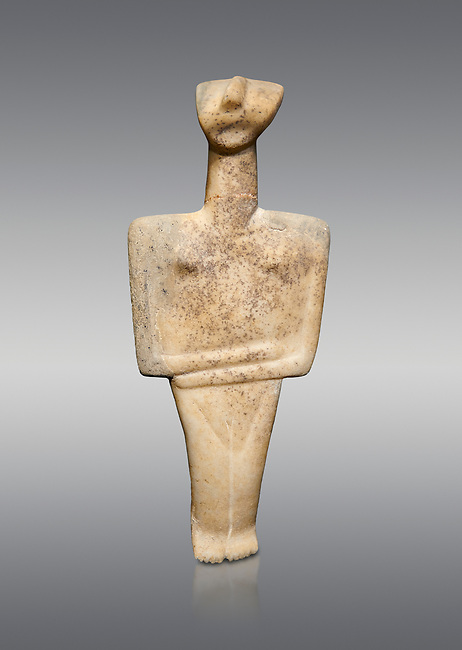 Cycladic Post Canonical type, Chalandrian variety female figurine statuette. Early Cycladic Period II Late Syros phase, (2500-2300 BC), Museum of Cycladic Art Athens, cat no 102.  Against Grey Background.
