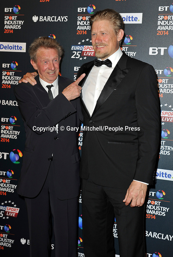 Denis Law _ Peter Schmeichel attends the BT Sport Industry Awards at Battersea Evolution on May 8, 2014 in London, England