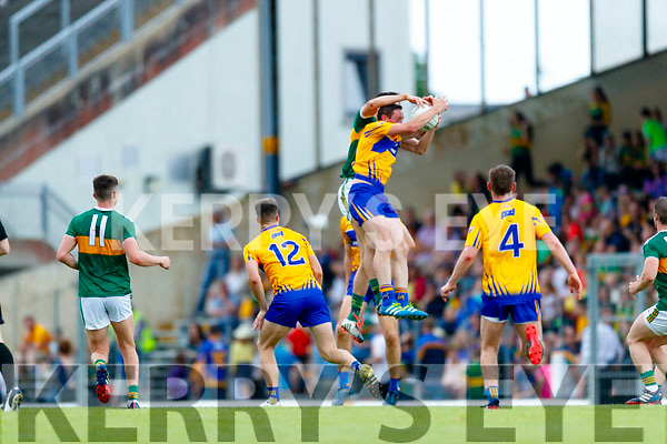 Kerry in action against  Clare during the Munster GAA Football Senior Championship semi-final match between Kerry and Clare at Fitzgerald Stadium in Killarney on Sunday.