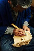 Hizawa Koun carving (Obeshimi?) mask.