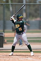 Oakland Athletics outfielder Enrry Pantoja (15) at bat during an Extended Spring Training game against the San Francisco Giants Orange at the Lew Wolff Training Complex on May 29, 2018 in Mesa, Arizona. (Zachary Lucy/Four Seam Images)
