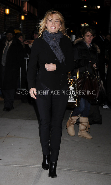 WWW.ACEPIXS.COM . . . . . ....January 8 2009, New York City....Actress Kate Winslet made an appearance at the 'Late Show with David Letterman' on January 8 2009 in New York City. ....Please byline: KRISTIN CALLAHAN - ACE PICTURES.... *** ***..Ace Pictures, Inc:  ..tel: (212) 243 8787 or (646) 769 0430..e-mail: info@acepixs.com..web: http://www.acepixs.com