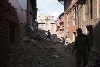 People save their belonging from destroyed houses at Bhaktapur, near Kathmandu, Nepal.  May 03, 2015