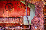 Gritty and colorful abstract of rusty old machine parts.  Taken at the Borax Museum in Death Valley
