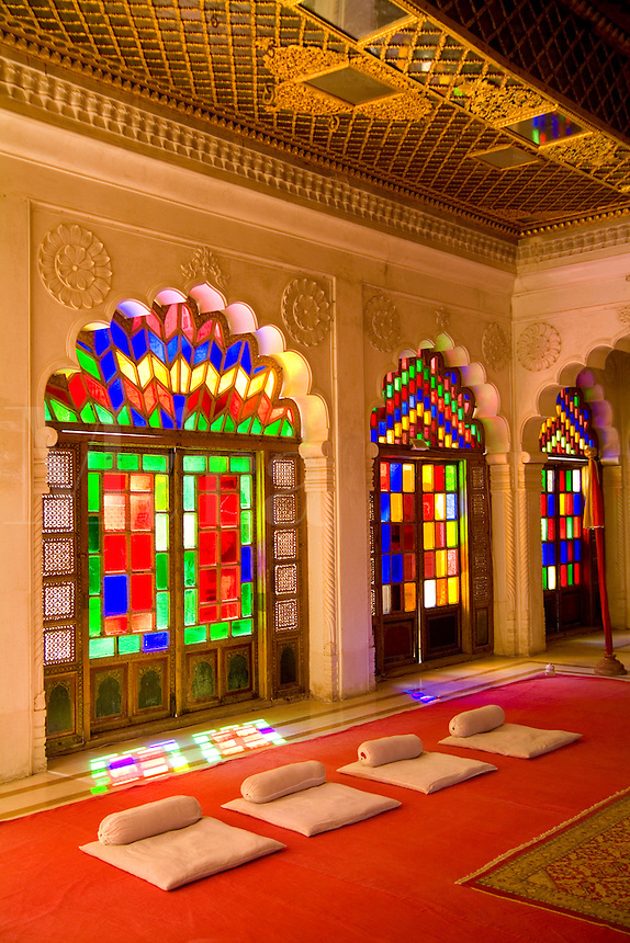 Jodhpur, Fort Mehrangarh, Rajasthan, India Temple for royals, rich  color and stained glass windows of Fort Palace