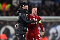 Liverpool manager Jürgen Klopp celebrates at the end of the match with Liverpool's Jordan Henderson<br /> <br /> Photographer Richard Martin-Roberts/CameraSport<br /> <br /> UEFA Champions League Group C - Liverpool v Napoli - Tuesday 11th December 2018 - Anfield - Liverpool<br />  <br /> World Copyright ¬© 2018 CameraSport. All rights reserved. 43 Linden Ave. Countesthorpe. Leicester. England. LE8 5PG - Tel: +44 (0) 116 277 4147 - admin@camerasport.com - www.camerasport.com