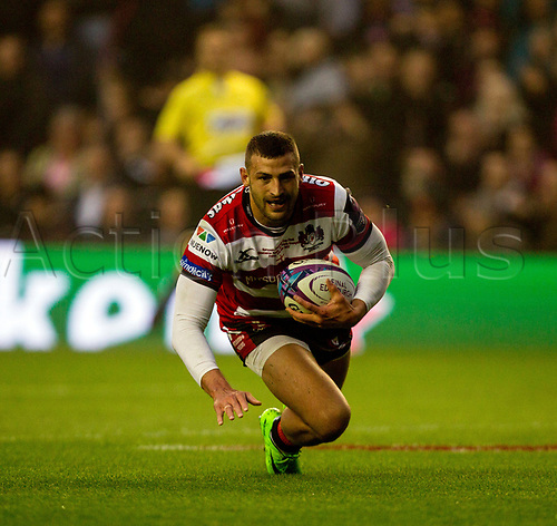 May 12th 2017, BT Murrayfield, Edinburgh, Scotland; European Rugby Challenge Cup Final; Gloucester versus Stade Francais;   Jonny May runs in to score the first try for Gloucester after 20 minutes of play