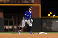 Albuquerque Isotopes second baseman Brendan Rodgers (1) during a game against the El Paso Chihuahuas at Southwest University Park on May 10, 2019 in El Paso, Texas. Albuquerque defeated El Paso 2-1. (Zachary Lucy/Four Seam Images)
