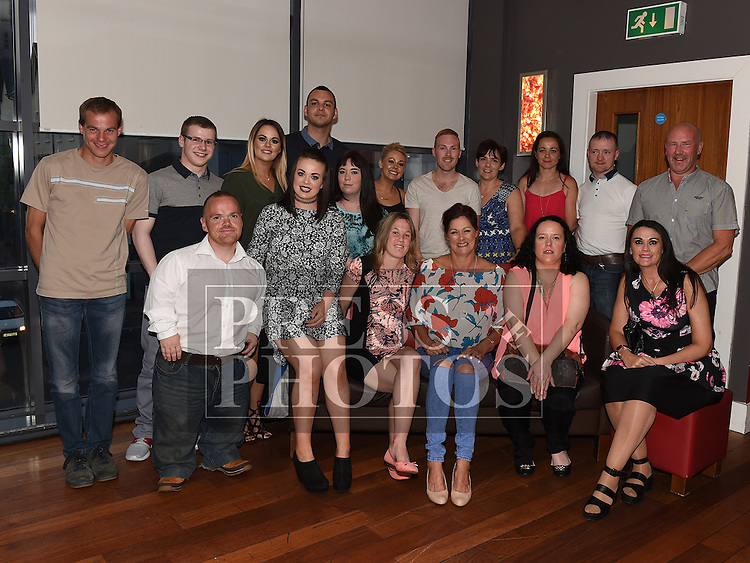 Ann Nelis pictured at her leaving party from Aura Leisure Centre with all her workmates in Brú. Photo:Colin Bell/pressphotos.ie
