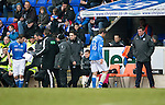 St Johnstone v Celtic.....14.02.15<br /> Murray Davdison limps off injured to be replaced by Chris Kane<br /> Picture by Graeme Hart.<br /> Copyright Perthshire Picture Agency<br /> Tel: 01738 623350  Mobile: 07990 594431