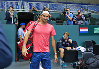 Switserland, Genève, September 16, 2015, Tennis,   Davis Cup, Switserland-Netherlands, The living legend has arrived, Roger Federer makes his apearance in the Plaxepo<br /> Photo: Tennisimages/Henk Koster