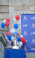 September 13, 2011 (Washington, DC)  WTT Championship trophy at the Wilson Building.  District of Columbia Mayor Vincent Gray issued a proclamation honoring the Washington Kastles at a press conference on Wednesday.  The Kastles won the WTT Championship with a perfect 16-0 season, the first in WTT history.  This marks the team's second championship in three seasons.  (Photo by Don Baxter/Media Images International)