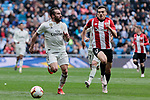 Real Madrid's Dani Carvajal and Athletic Club de Bilbao's Yuri Berchiche during La Liga match between Real Madrid and Athletic Club de Bilbao at Santiago Bernabeu Stadium in Madrid, Spain. April 21, 2019. (ALTERPHOTOS/A. Perez Meca)
