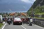 Km0 and the peleton wait to start of Stage 17 of the 2018 Giro d'Italia, The Franciacorta Stage running 155km from Riva del Garda to Iseo, Italy. 23rd May 2018.<br /> Picture: LaPresse/Fabio Ferrari | Cyclefile<br /> <br /> <br /> All photos usage must carry mandatory copyright credit (&copy; Cyclefile | LaPresse/Fabio Ferrari)