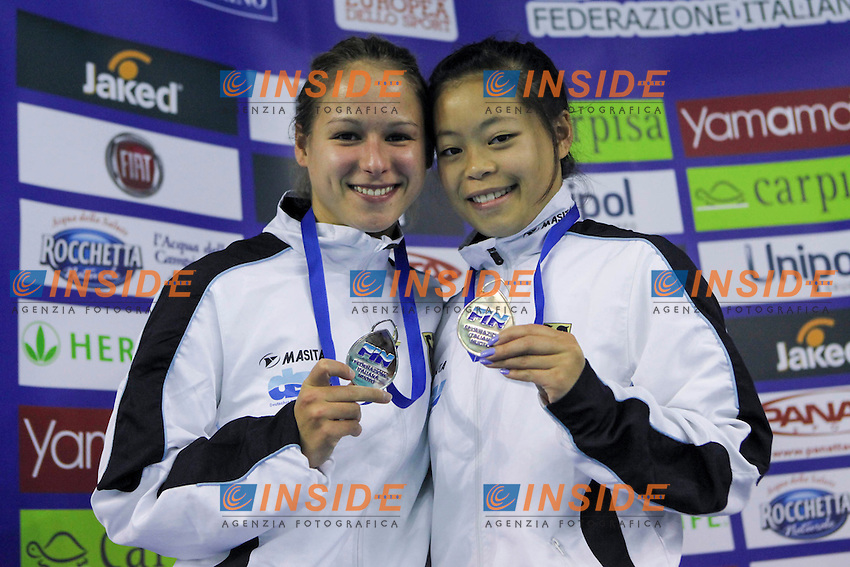 Maria Kurjo and Phan My GER silver medal.Women's 10m platform final.09/12/2012.Four Nations Diving Championships 2012.Torino - Italy  .Dec.07th - 09th 2012.Ph. Giorgio Perottino / Deepbluemedia / Insidephoto