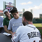 Aces Ryan Roberts signs autographs for fans.  Photo by Tom Smedes.