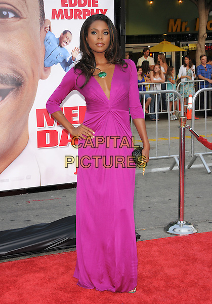 "GABRIELLE UNION.The Twentieth Cenury Fox World Premiere of ""Meet Dave"" held at The Mann's Village Theatre in Westwood, California, USA. .July 8th, 2008                                                                     .full length pink purple fuschia dress hand green stone necklace low cut neckline hand on hip zebra print clutch  bag purse ruched .CAP/DVS.©Debbie VanStory/Capital Pictures."