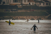 3rd January 2018,  Baleal, Peniche Portugal - Surfers by the shore before starting a practice session by January 3rd , before the upcoming Nazare big-wave surfing event which will have giant wave runs