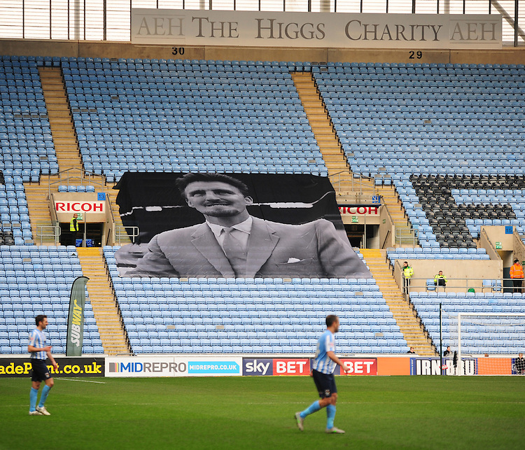 A general view of home of  Coventry City, with a flag remembering the late Jimmy Hill<br /> <br /> Photographer Andrew Vaughan/CameraSport<br /> <br /> Football - The Football League Sky Bet League One - Coventry City v Fleetwood Town - Saturday 27th February 2016 - Ricoh Stadium - Coventry   <br /> <br /> &copy; CameraSport - 43 Linden Ave. Countesthorpe. Leicester. England. LE8 5PG - Tel: +44 (0) 116 277 4147 - admin@camerasport.com - www.camerasport.com